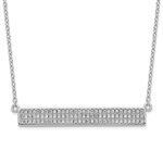Diamond Essence bar Necklace, 0.5 Cts.T.W. in Platinum Plated Sterling Silver. 90, 1mm round stones