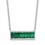 Diamond Essence emerald Necklace, 2  Cts.T.W. in Platinum Plated Sterling Silver.