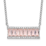 Diamond Essence morganite Necklace, 2  Cts.T.W. in Platinum Plated Sterling Silver.