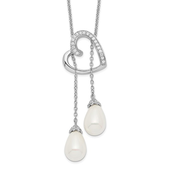 Diamond Essence Heart Shape Pendant with Round stones & pearls, 1.50 cts.t.w. in Platinum Plated Sterling Silver.