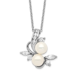 Diamond Essence Round Brilliant Melee, marquise stones and Pearl Pendant, 1.20 Ct.T.W. in Platinum Plated Sterling Silver. Chain Included.