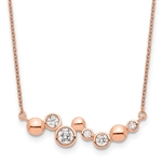 Fancy Bar necklace with round brilliant Diamond Essence stones, 0.50 cts.t.w. set in Rose Plated Sterling Silver.