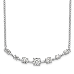 Prong set Artificial Round Diamonds by Diamond Essence set in Platinum Plated Sterling Silver Necklace, 1.0 cts.t.w