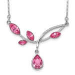 Beautifully crafted Platinum Plated Sterling Silver Necklace with artificial pink marquise and round brilliant stones by Diamond Essence, 2.0 cts.t.w. Wear this beautiful piece for any occasion or night out and add a classic glory to your beauty.