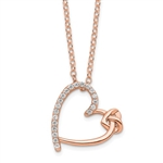 Diamond Essence Heart Shape Pendant with Round  stones, 1.0 cts.t.w. in Rose Plated Sterling Silver.