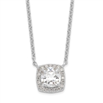 Diamond Essence Pendant with 2.5 ct. cushion Cut Stone in center surrounded by round stones in Platinum Plated Sterling Silver.