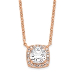 Diamond Essence Pendant with 2.5 ct. cushion Cut Stone in center surrounded by round stones in rose plated silver
