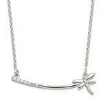Platinum Plated Sterling Silver Dragonfly Bar Necklace with Round Brilliant Diamond Essence stones, 0.25 cts.t.w.