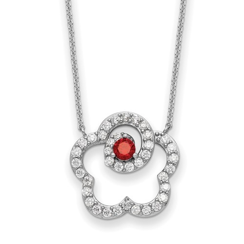 "Diamond Essence Designer Pendant, with Round Brilliant melee and Garnet Essence set in artistic floral prong setting. 18"" long chain in Platinum Plated Sterling Silver."