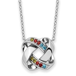 "The contemporary prong set multicolor necklace for women with round diamonds set in platinum plated sterling silver. 1.0 Cts.t.w. 18"" long"