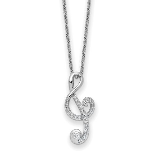 A prong set artificial round brilliant diamonds set on musical note pendant in platinum plated sterling silver. 1.0 Cts.t.w.