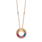 Diamond Essence Rose Plated Multi Color Designer Necklace, With Colorful Baguettes and Round Brilliant Melee in Channel setting of Rose Plated Sterling Silver. 5.0 Cts.t.w.