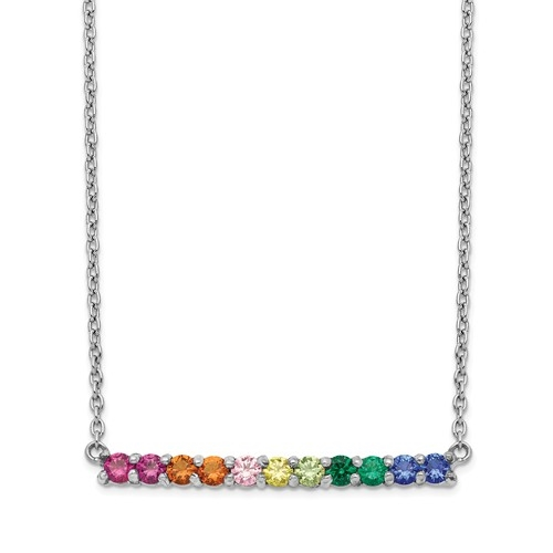 Diamond Essence Multi Color Necklace, 2.75 Cts.T.W. in Platinum Plated Sterling Silver.