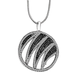 "Designer Pendant with Ember Essence and Diamond Essence Melee, 2.5 Cts. T.W. set in Platinum Plated Sterling Silver. 18"" long Chain included."