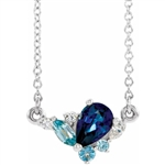 "A marvelous and prong set designer 18 "" long necklace for women with sapphire pear cut, aquamarine marquise and round brilliant Diamonds by Diamond Essence set in platinum plated sterling silver. 1.50 Cts.t.w."