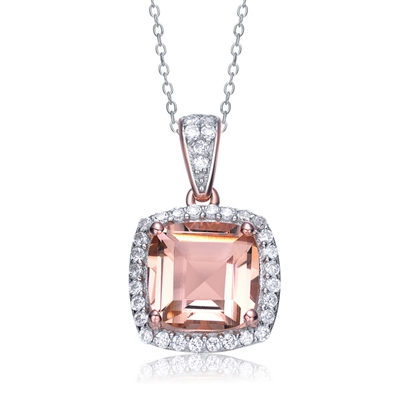 Diamond Essence Pendant With Cushion Cut Morganite Escorted By Melee And Melee On The Bail Enhance the Beauty, 5 Cts.T.W. In Rose Plating Over Sterling Silver.