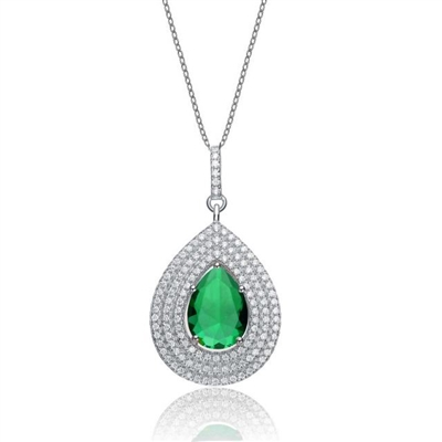 Diamond Essence Designer Pendant With Emerald Essence Pear Center Surrounded By 3 Rows Of Melee In Steps And Melee On The Bail Enhance The Look, 3.50Cts.T.W. In Platinum Plated Sterling Silver.