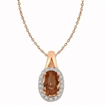 Diamond Essence Pendant with 2 Cts. Morganite Stone and Brilliant Melee, set in Rose Plated Sterling Silver Halo Setting.
