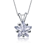 Diamond Essence Star Pendant. 2.5 ct. set in five prongs Platinum Plated Sterling Silver setting.