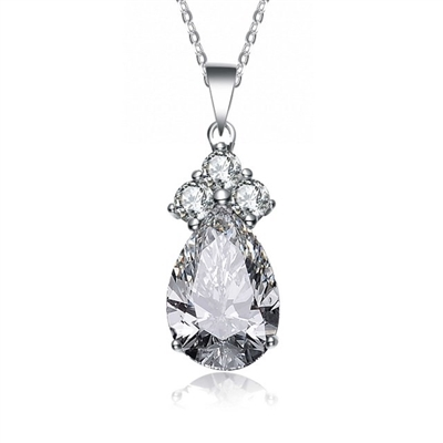 Diamond Essence Pendant With Trio Of Round Brilliant Stones Grace The Pear Essence Stone's  Peak, 2.50 Cts.T.W. In Platinum Plated Sterling Silver.