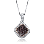 Diamond Essence Spade Pendant With Round Brilliant Diamond Essence And Chocolate Essence Stones, 1.50 Cts.T.W. in Platinum Plated Sterling Silver.