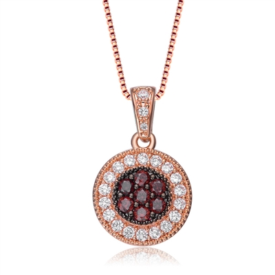 Diamond Essence Pendant with Diamond And Chocolate stones, 1.50 Cts.T.W. in Rose Plated Sterling Silver. 19mm long and 12 mm wide, Chain included.