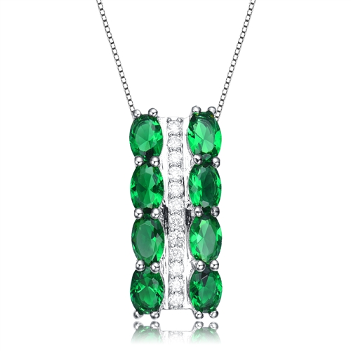 Diamond Essence Designer Pendant, with Emerald color Oval cut stones set in prong settings and Round Brilliant melee in a bar setting,  2.10 cts.t.w. in Platinum Plated Sterling Silver