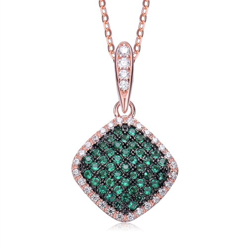 Diamond Essence Designer Pendant with Emerald Essence melee in pave setting, outlined with Diamond Essence melee,0.75 Cts.T.W in Rose Plated Sterling Silver.