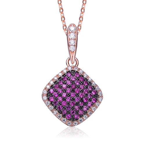 Diamond Essence Designer Pendant with Ruby Essence melee in pave setting, outlined with Diamond Essence melee,0.75 Cts.T.W in Rose Plated Sterling Silver.