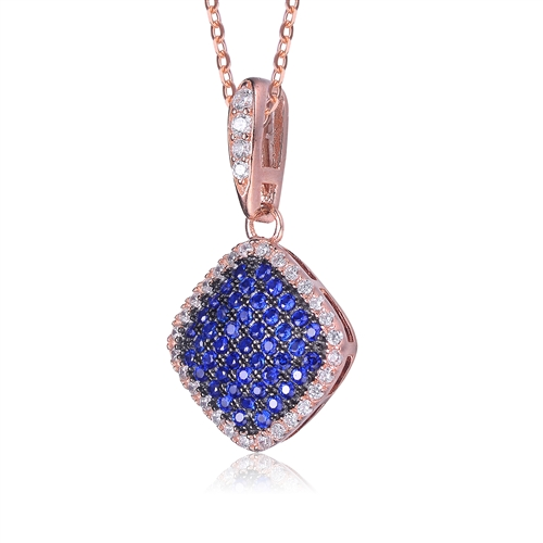 Diamond Essence Designer Pendant with Sapphire Essence melee in pave setting, outlined with Diamond Essence melee,0.75 Cts.T.W in Rose Plated Sterling Silver.