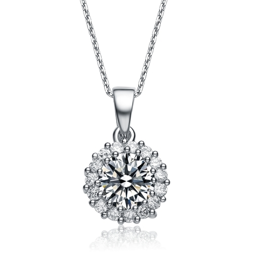Diamond Essence 1.5 carat Round Brilliant stone surrounded by Diamond Essence melee, 2.0 cts.t.w. set in Platinum Plated Sterling Silver. Just perfect for everyday wear.
