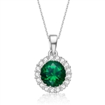 Diamond Essence 1.50carat Round Brilliant Emerald Essence stone surrounded by Diamond Essence melee, 2.0 cts.t.w. set in Platinum Plated Sterling Silver. Just perfect for everyday wear.