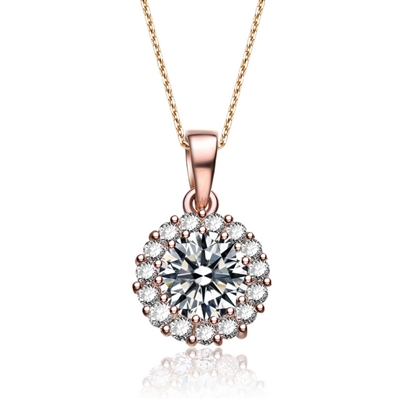 Diamond Essence 1.5 carat Round Brilliant stone surrounded by Diamond Essence melee, 2.0 cts.t.w. set in Rose Plated Sterling Silver. Just perfect for everyday wear. Chain not included.