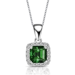 Designer Pendant With Emerald Essence Asscher cut stone in four prongs setting and surrounded by Diamond Essence Melee,1.50 Cts.T.W. in Platinum Plated Sterling Silver.