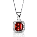 Designer Pendant With Ruby Essence Asscher cut stone in four prongs setting and surrounded by Diamond Essence Melee,1.50 Cts.T.W. in Platinum Plated Sterling Silver.