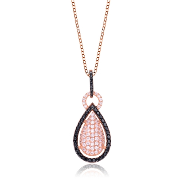 Diamond Essence Designer Pendant with Round Brilliant and Onyx Melee, 3.50 cts.t.w. - SPC3112B