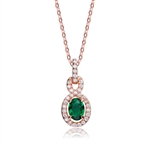 Designer Pendant with 1.0 CT Emerald Essence in the center. Round brilliant melee on the bail and surrounding center stone with interwined design. 1.75 cts.t.w. in Rose Plated Sterling Silver. ( Matching Earring item# SEC6600ER)