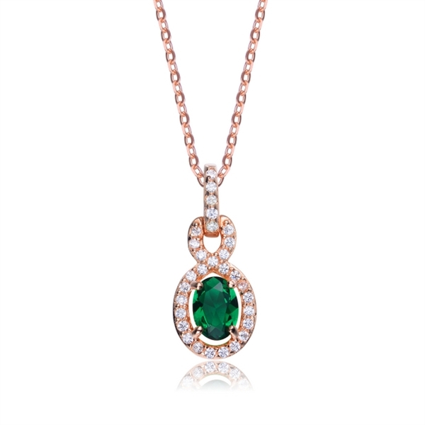 b660719fcf600 Diamond Essence Pendant with Oval cut Emerald Stone surrounded by Round  Brilliant Melee, 1.75 cts.t.w. - SPC6600ER