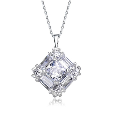 Little beauty. Diamond Essence Pendant with traditional Baguettes, Princess cut and Round brillaints set in artistic way in Platinum Plated Sterling Silver,1.0 cts.t.w. Chain not included.