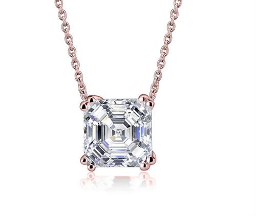 Diamond Essence 3 Cts. Asscher Cut Pendant In Rose Plated Sterling Silver.