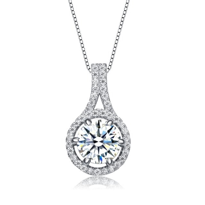 Diamond Essence Designer Pendant with Round Brilliant Stone and Melee, 2.20 Cts.t.w. set in Platinum Plated Sterling Silver. 18mm Length x 10mm Width.