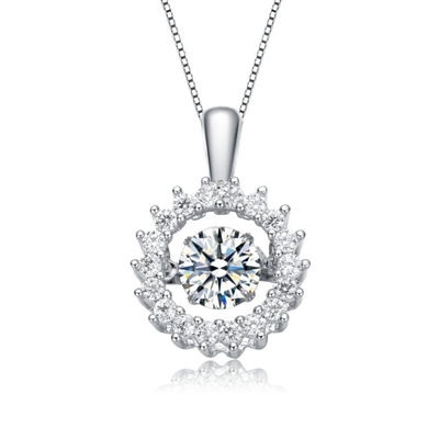 Diamond Essence Designer Wreath Pendant With Round Brilliant Stone, 1.25 Cts.t.w. in Platinum Plated Sterling Silver.