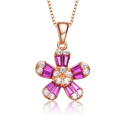 Diamond Essence Delicate Designer Floral Pendant with Ruby Baguettes and brilliant melee,1.10 Cts.t.w. set in Rose Plated Sterling Silver. 18mm Length, 11mm Width.