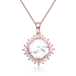 Diamond Essence Pendant With How Lite Center Surrounded By Melee Set In 8 Prongs,6.50Cts.T.W. In Rose Plated Sterling Silver.