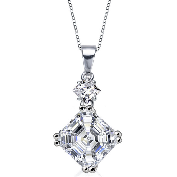 Diamond Essence Pendant With Asscher Stone And Princess Stone in Platinum Plated Sterling Silver.