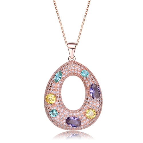 Diamond Essence multi color designer pendant, enhancing Amethyst Essence, Canary Essence and Aquamarine Essence on base of Round Brilliant Melee, 4.0 Cts.T.W in Rose Plated Sterling Silver.