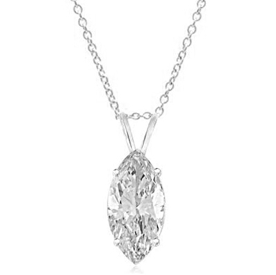sterling silver marquise cut pendant