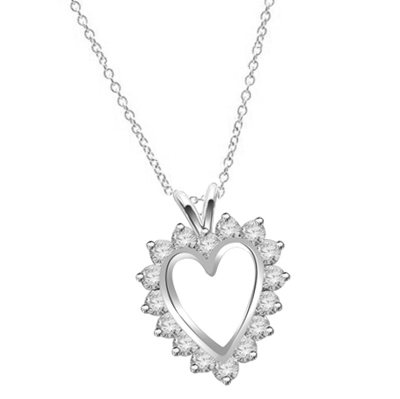 Heart pendant, Diamond Essence round brilliant stones, 3.0 cts.t.w. set in Platinum Plated Sterling Silver.