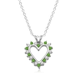 Emerald Essence Heart Pendant - 0.5 Cts. T.W. set in Platinum Plated Sterling Silver.