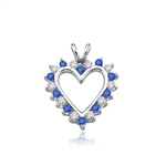 Sapphire Essence Heart Pendant - 0.5 Cts. T.W. set in Platinum Plated Sterling Silver.